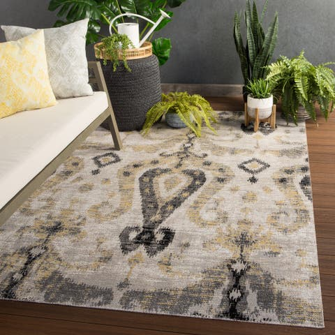 The Curated Nomad Leona Indoor/ Outdoor Ikat Grey/ Yellow Area Rug