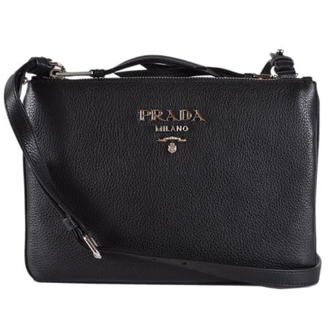 345eb3aa300070 Prada 1BH046 Black Vitello Leather Bandoliera Double Zip Crossbody Purse Bag