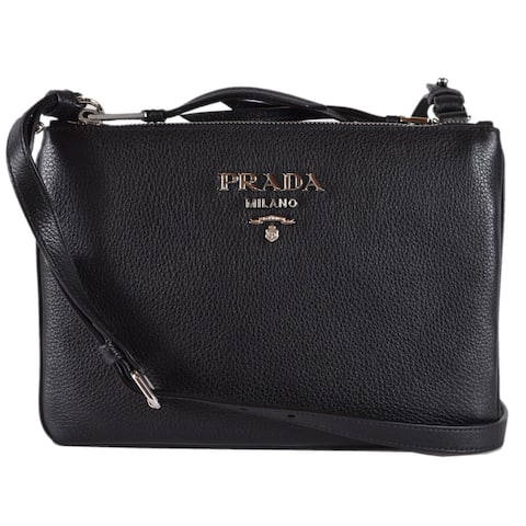 a66fec56a2f8 Prada 1BH046 Black Vitello Leather Bandoliera Double Zip Crossbody Purse Bag