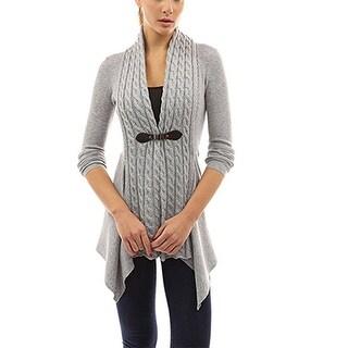 Women's Elegant Buckle Braid Front Knit Sweater Cardigan