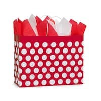 "Pack of 25, Vogue Red Polka Dots Paper Bags 16 X 6 X 12.5"" Great For Christmas Or Valentine Packaging"