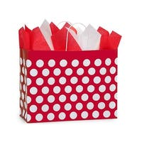 "Pack of 250, Vogue Red Polka Dots Paper Bags 16 X 6 X 12.5""Great For Christmas Or Valentine Packaging"