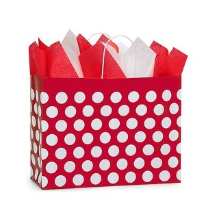 """Pack of 250, Vogue Red Polka Dots Paper Bags 16 X 6 X 12.5""""Great For Christmas Or Valentine Packaging"""
