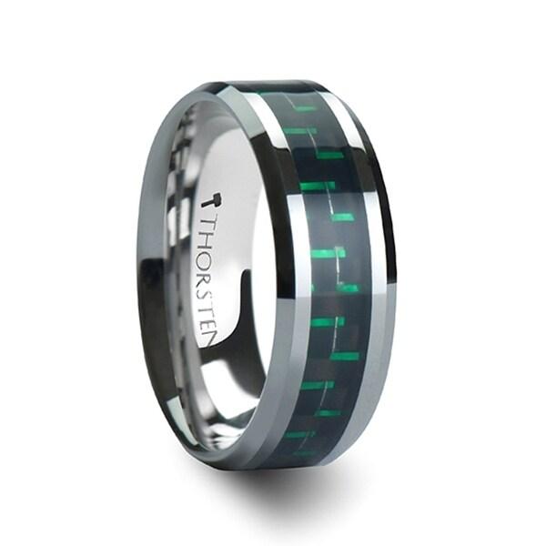 THORSTEN - ATRONIUS Tungsten Carbide Wedding Band with Black Green Carbon Fiber Inlay