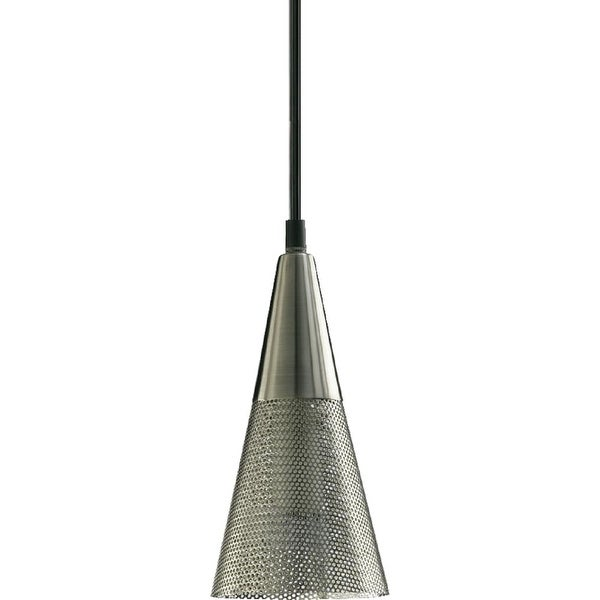 Quorum International Q1315 1 Light Mini Pendant with Metal Cone Shade - satin nickel