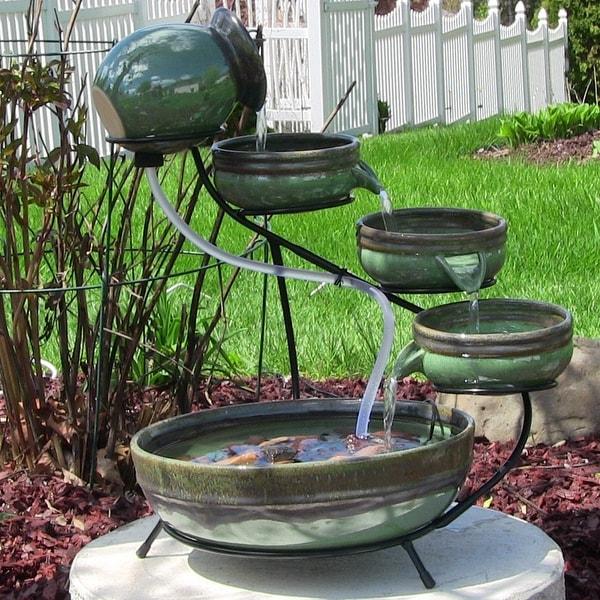 Sunnydaze Green Sand Ceramic Cascade Solar Outdoor Water Fountain - 21 Inch Tall