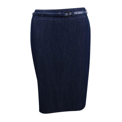 Tahari ASL Women's Belted Pencil Skirt (2, Chambray Blue) - Chambray Blue - 2
