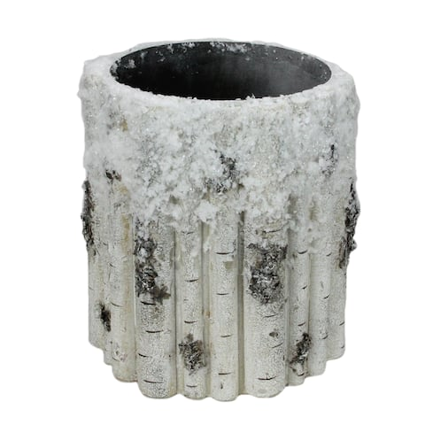 9'' White and Brown Large Snowy Faux Birch Christmas Planter - N/A