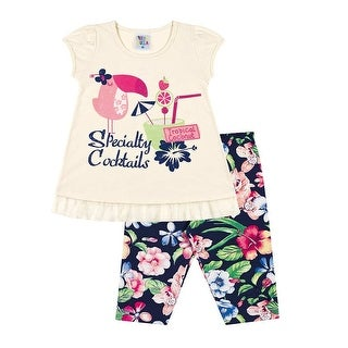 Toddler Girl Outfit Graphic Tee and Capri Leggings Set Pulla Bulla 1-3 Years