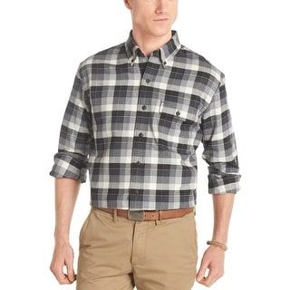 Izod Cotton Twill Button Down Plaid Flannel Shirt Black and White Small