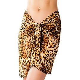 Short Brown Animal Print Swimsuit Sarong Cover up with Built in Ties