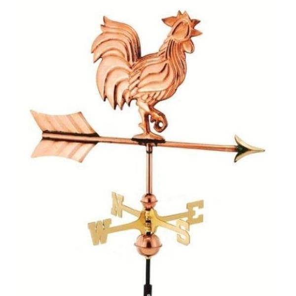 "21"" Handcrafted Polished Copper Proud Rooster Outdoor Weathervane with Garden Pole"