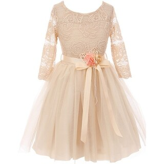 Floral Lace Top Tulle Flower Girl Dress USA Champagne JKS 2098