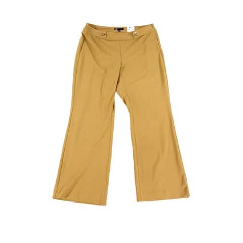 INC Womens Pants Beige Size 26W Plus Dress Mid-Rise Grommet Stretch
