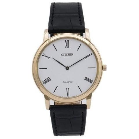 Citizen Men's AR1113-12B 'Eco Drice Stiletto' Black Leather Watch