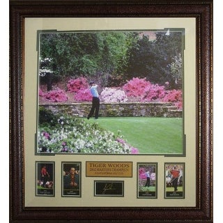 Tiger Woods unsigned Engraved Signature Series Collection 30x32 Leather Framed 2002 Masters Azaleas Photo with 4 Cards- 4 Time M