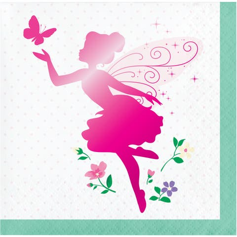 """Club Pack of 192 Pink and Green Floral Fairy Sparkle Theme 2-Ply Luncheon Beverage Napkins 10"""" - N/A"""