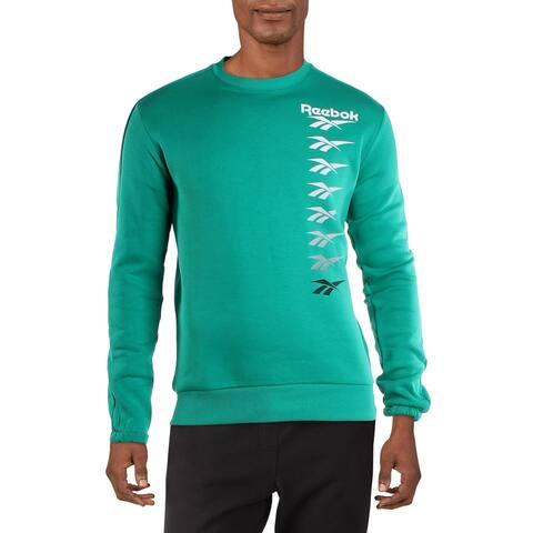 Reebok Mens Classic Vector Crew Sweatshirt Fitness Workout - Emerald