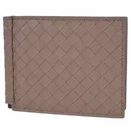 Bottega Veneta Men's 390877 Woven Leather Bifold Wallet with Bill Clamp