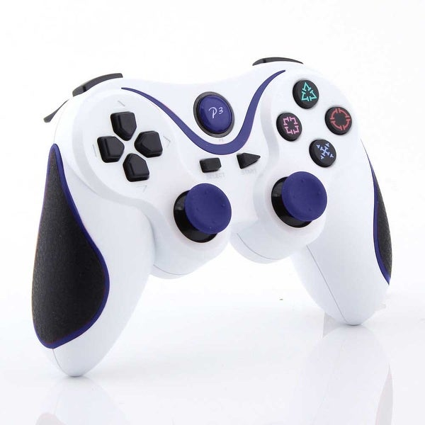 Wireless Bluetooth Game Controller for Sony PS3 White + Blue Stripe