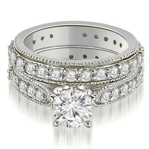 2.25 cttw. 14K White Gold Cathedral Round Cut Eternity Diamond Bridal Set