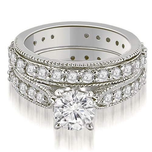 2.50 cttw. 14K White Gold Cathedral Round Cut Eternity Diamond Bridal Set