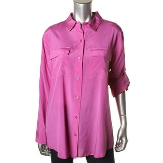 DKNY Womens Silk Solid Button-Down Top - p