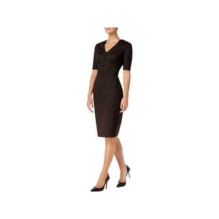 Calvin Klein Womens Wear to Work Dress Animal Print V-Neck