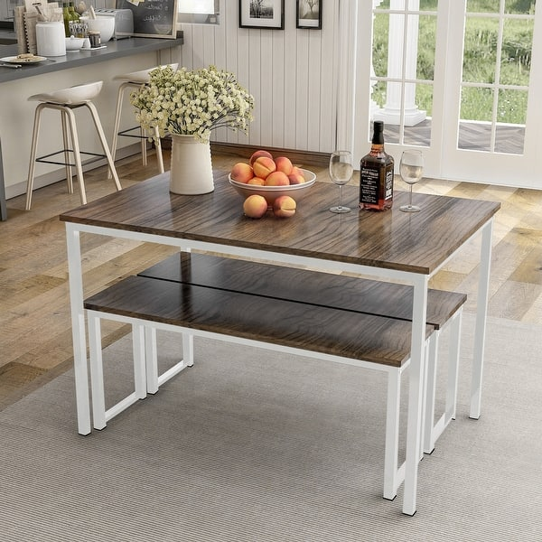 3 Piece Dining Table Set Kitchen Table With Two Benches On Sale Overstock 28762944 Brown