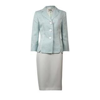 Le Suit Women's The Hamptons Notch Tweed Skirt Suit - summer teal/multi