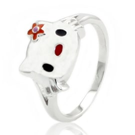 Sterling Silver Cute Kitty Ring