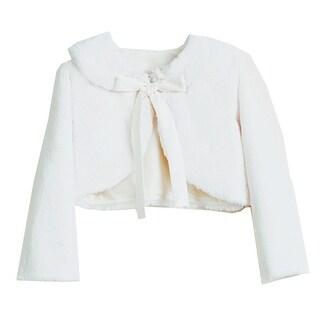 Sweet Kids Little Girls Ivory Faux Fur Ribbon Long Sleeve Bolero Jacket