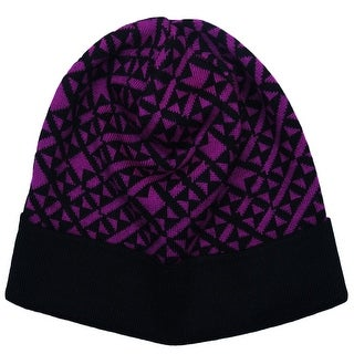 Versace V2B0070 0002 Purple/Black Knitted Beanie Wool Blend Hat
