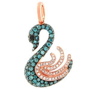 Prism Jewel 1.16Ct Multi Color Diamond & Diamond Designer Pendant - Black/Blue/White G-H