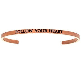 "Intuitions ""Follow Your Heart"" Pink Stainless Steel Cuff Bangle Bracelet"