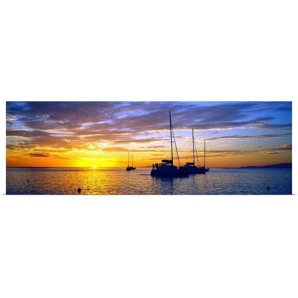 """""""Sailboats in the ocean at sunset, Tahiti, Society Islands, French Polynesia"""" Poster Print. Opens flyout."""