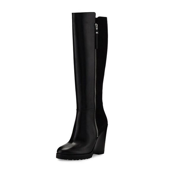 Michael Kors Womens Clara Wedge Leather Closed Toe Knee High Fashion Boots
