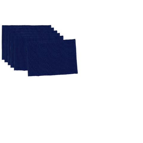 "Set of 6 Decorative Solid Indigo Blue Fabric Table Placemats 19"" - N/A"