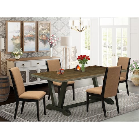 Modern Dining Set Included Distressed Jacobean Kitchen Table and Linen Fabric Padded Chairs (Number of Chair and Bench Option)