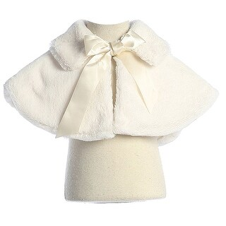 Sweet Kids Baby Girls Ivory Fluffy Faux Ribbon Closure Cape 6-24M