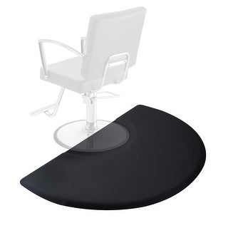 Semi Circle Anti-Fatigue Salon Barber Chair Floor Mat - Black