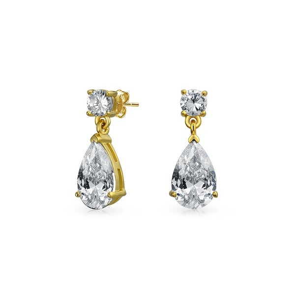 866128320 Shop Simple Bridal Prom Cubic Zirconia Pear Shaped Teardrop CZ Dangle Drop  Earring 14K Gold Plated 925 Sterling Silver 8MM - On Sale - Free Shipping  On ...
