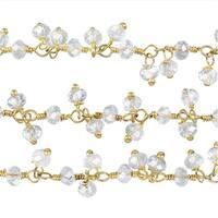 Gold Vermeil Wire Wrapped Gemstone Chain, Crystal Quartz Rondelles 3mm, 1 Inch