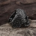 Vienna Jewelry Black Lining Stainless Steel Skull Ring - Thumbnail 2