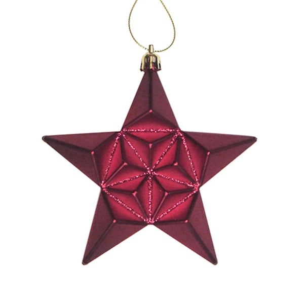 12ct Matte Burgundy Glittered Star Shatterproof Christmas Ornaments 5""