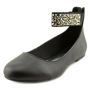 Nine West Faye Youth Round Toe Synthetic Black Ballet Flats