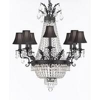 Empire Crystal Chandelier With Black Shades