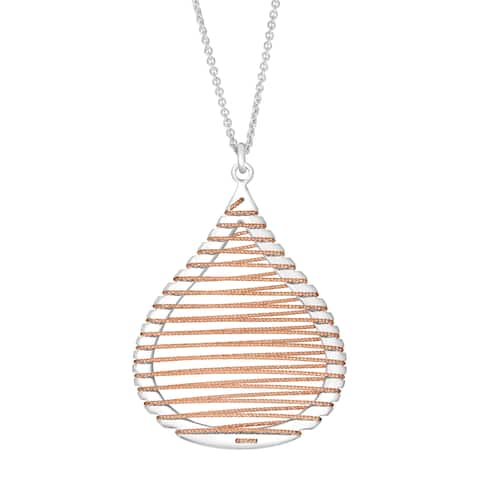 Puffed Teardrop Pendant with Wire in 18K Rose Gold-Flashed Sterling Silver - White
