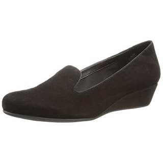 Easy Spirit Womens Davita Suede Mini Wedge Smoking Loafers