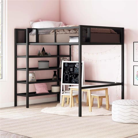 Avenue Greene Tammy Metal Twin Storage Loft with Bookcase